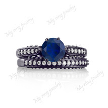 Bridal Engagement Ring Rd Cut 14K White Gold Fn Solitaire Blue Sapphire ... - $79.99