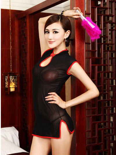 8083 Sexy dare-you-wear sheer net cheongsam, g-string  free size, fit to s/m/l,  image 4