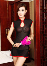 8083 Sexy dare-you-wear sheer net cheongsam, g-string  free size, fit to s/m/l,  image 5