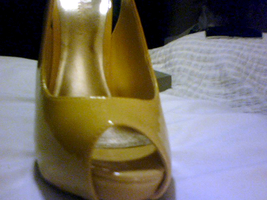 NEW BEAUTIFUL Yellow Patent Cork Platform Wedge Cut-out adjustable buckle Heel   image 2