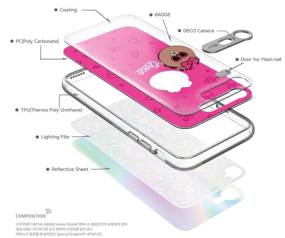 LINE Friends Premium Metal Badge Lighting Case iPhone 7/7 Plus Cover Mobile Skin
