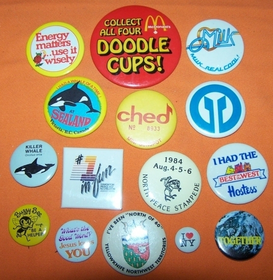 Primary image for Advertising Buttons 15 Mc Donalds Doodle Cups