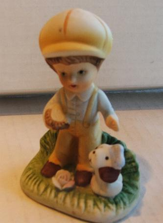 Primary image for Jasco Bisque Boy with Brown Eared Dog Dog 70s