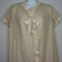 Vintage 50s Blush Pink Taffeta Lace Overlay Dressing Gown Robe M Hollywo... - $69.27