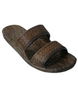 Pali Hawaii Sandals Dark Brown Rubber Slip On Slide Jesus Shoes Beach Ja... - $13.99