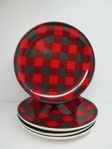 Sleigh Bell Bistro Red Black Plaid Salad Plates Holiday bundle of 4 - $19.59