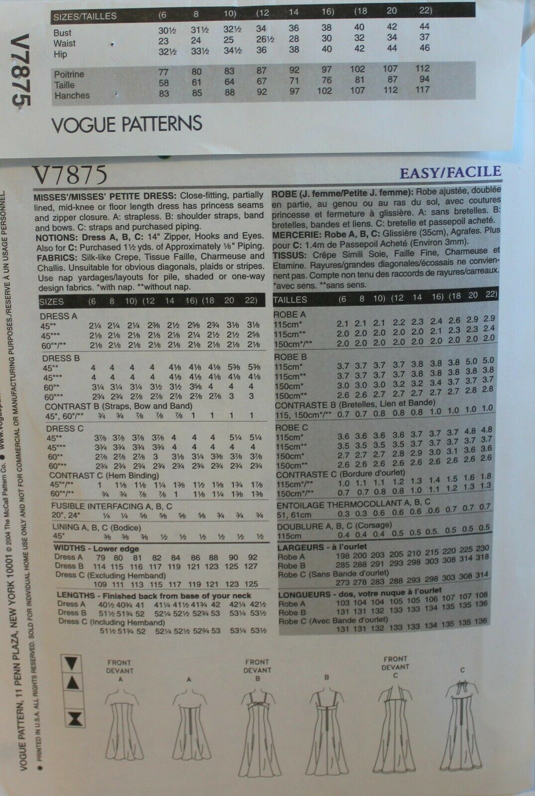 Vogue Sewing Pattern 7875 Misses Dress Halter Strapless Size 18 20 22 image 2
