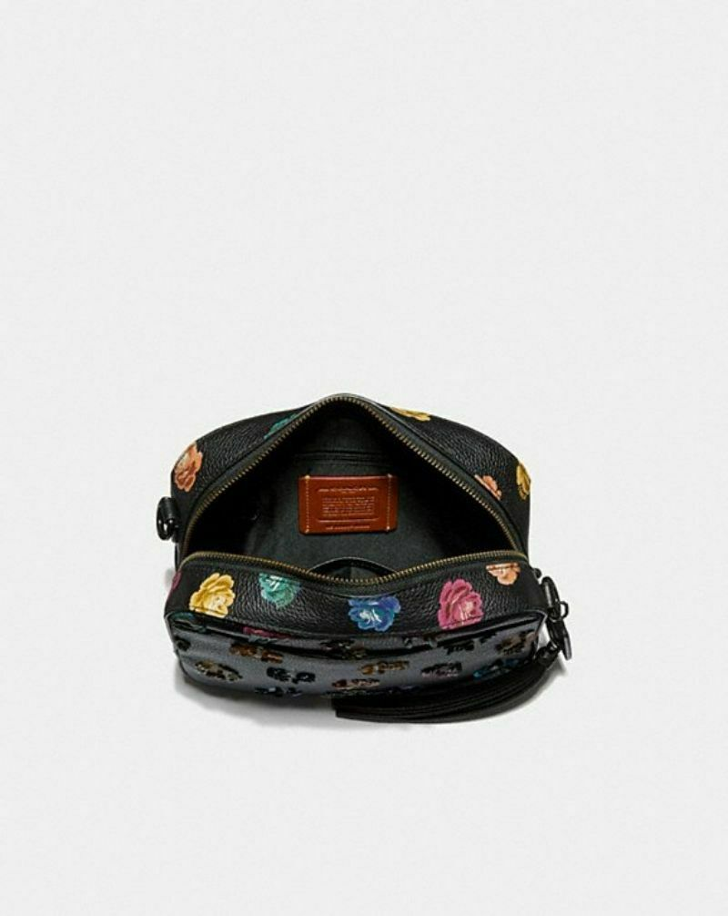 COACH 31647 Rainbow Rose Leather Sequins Camera Bag NWT