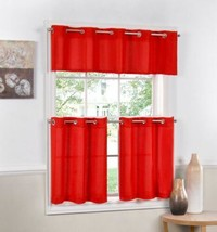 Jackson Textured Solid Red Kitchen Curtain Choice Tiers or Valance - $17.39+