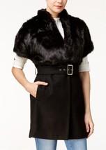 GUESS Womens Cordelia Wool Faux Fur Coat Black, Size Small - $98.01
