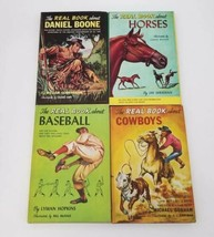 Vtg The Real Book About Set of 4 Daniel Boone, Baseball, Horses, Cowboys... - $30.40