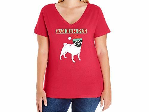 Primary image for 12.99 Prime Tees Women's Bah Hum Pug Plus Size V-Neck T Shirt 22-24 Red