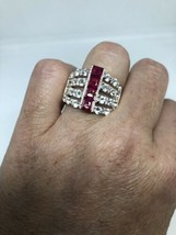 Vintage Ruby Ring White Sapphire 925 Sterling Silver Size 10 - $163.35