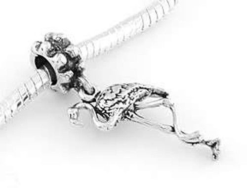 Primary image for STERLING SILVER DANGLING FLAMINGO EUROPEAN BEAD