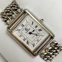 Vintage GIORDANO Silver Women's Triple Chain Crystals Bracelet Watch Wor... - $29.65