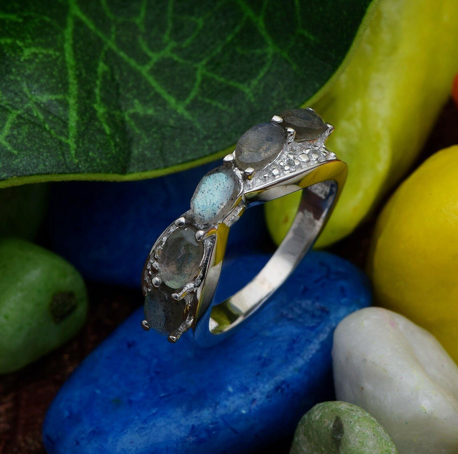 925 Sterling silver statement beautiful labradorite white rhodium ring