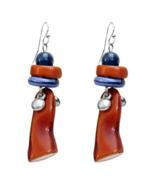 Treska Denali Brown / Blue Linear Beaded Drop Pendant Earrings - $19.95