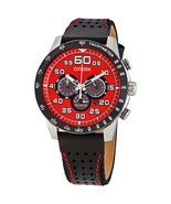 CITIZEN ECO-DRIVE PRIMO CA4430-01X BLACK LEATHER RED DIAL CHRONO MEN'S W... - $223.73