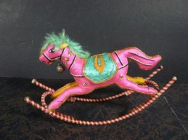 Vintage Handmade Rocking Horse Figure Ornament - $3.50