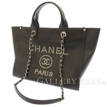 CHANEL Tote Bag Grained Calf Leather Black Deauville CC A57069 Italy Aut... - $4,114.35