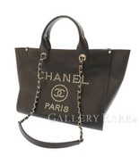 CHANEL Tote Bag Grained Calf Leather Black Deauville CC A57069 Italy Authentic