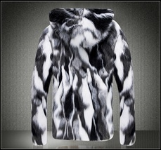 Natural Marbled Black and White Rabbit Faux Fur Front Zip Hooded Coat Jacket image 2