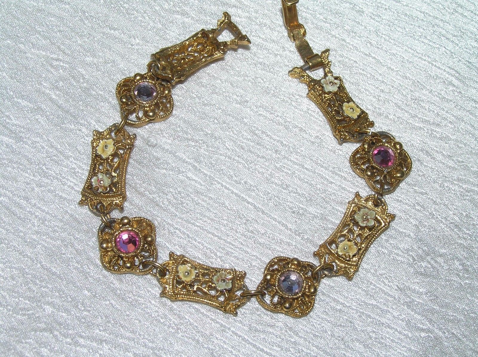 Vintage Victorian Reproduction Lacey Goldtone w Dainty Enamel Flowers & Pink