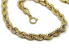 18K YELLOW GOLD BRACELET 4 MM BRAID ROPE LINK, 8 INCHES LONG, MADE IN ITALY image 2