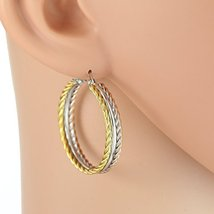 Twisted Edge Tri-Color Silver, Gold & Rose Tone Hoop Earrings- United El... - $16.99