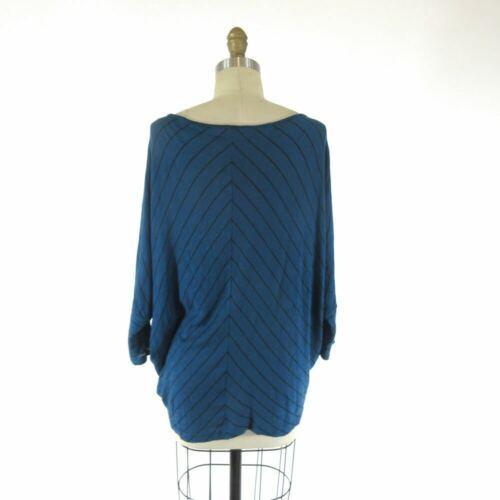 S - Velvet Blue & Black Chevron Patterned Knit Slouchy Fit Shirt Top 0921KW image 3