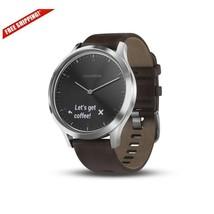 Garmin Vivomove HR, Premium, Silver w/ Black Leather Band, Large US - $404.99