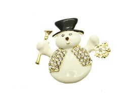 Goldtone Crystal Stone Paved Metal Snowman Pin and Brooch - $11.95