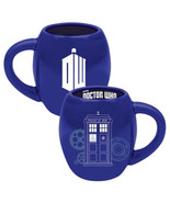 Doctor Who Tardis Image and DW Logo 18 oz Illustrated Blue Ceramic Oval ... - $11.18