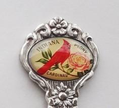 Collector Souvenir Spoon USA Indiana Cardinal Peony Emblem - $6.99