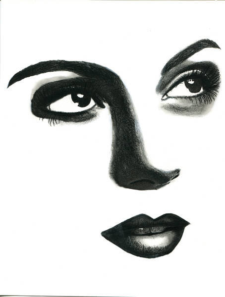 hopeful womans face original art pencil drawing eyes lips portrait art modern bl