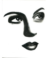 hopeful womans face original art pencil drawing eyes lips portrait art m... - $19.99