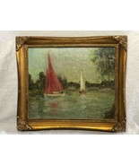 Marine Oil Painting Sailing Racing Boats Thames By Windsor After Sydney Thompson - $777.08