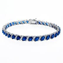 20.00 CT Genuine Sapphire Vine Bracelet Embellished with Swarovski Cryst... - $38.99