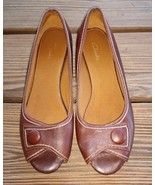 Clarks 8M Women's Small Wedge Brown Leather Peep Toe Comfort Career Shoes - $24.22