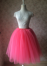 Women A Line Short Knee Length Tutu Tulle Skirt High Waist Tutu Ballet Skirt Red