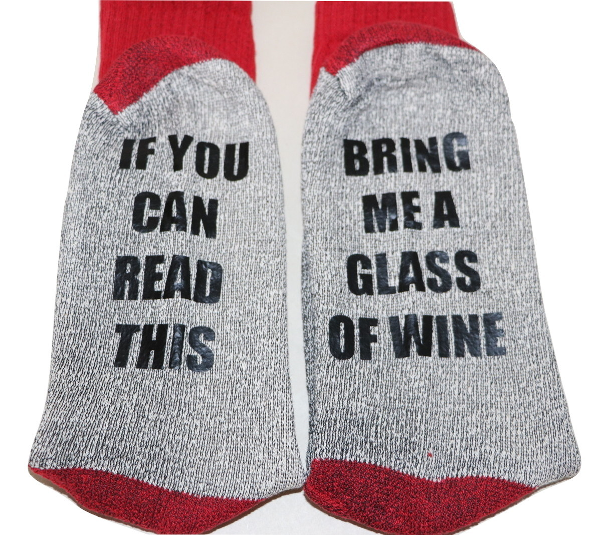 Novelty Socks - If you can Read This Bring Me a Glass of Wine Grey / Red