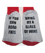 Novelty Socks - If you can Read This Bring Me a Glass of Wine Grey / Red - $14.45