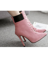 8Cb140 Elegant lady's lace-up booties, finest suede leather size 5-10, pink - $58.80