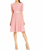 Anne Klein Dress Sz 10 Zinnia Camellia Red White Belted A-Line Career Co... - $59.35
