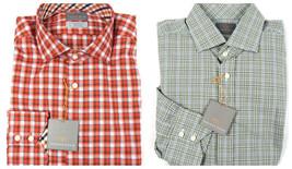 Thomas Dean Men's Sport Shirt Button-Down Long Sleeve Check Pattern NEW