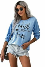 Juniors' Tops Celebrity Faith OVER Fear Blue Shirt - $18.99