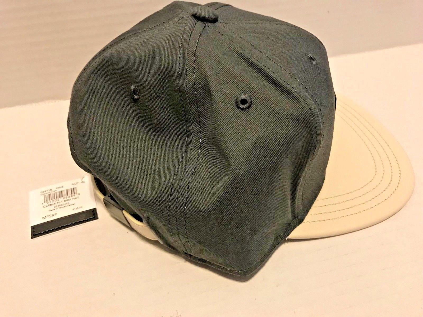 COACH Men s Charcoal Chaulk Color Block Leather Logo FLAT BRIM Baseball Hat   125 009bed7c775d
