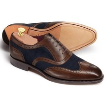 Handmade Men's Brown Leather And Blue Suede Wing Tip Leather Shoes image 1