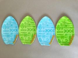 Margaritaville Plates Surfboard Melamine Set of 4 Tidbit Appetizer Dessert  - $507,79 MXN