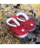 NEW Swiss Made Baby Knit Crochet Bootie Shoes - Red White 100% Cotton Sw... - $17.80